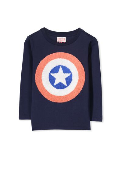 Licence Long Sleeve Tee, PEACOAT/CAPTAIN AMERICA