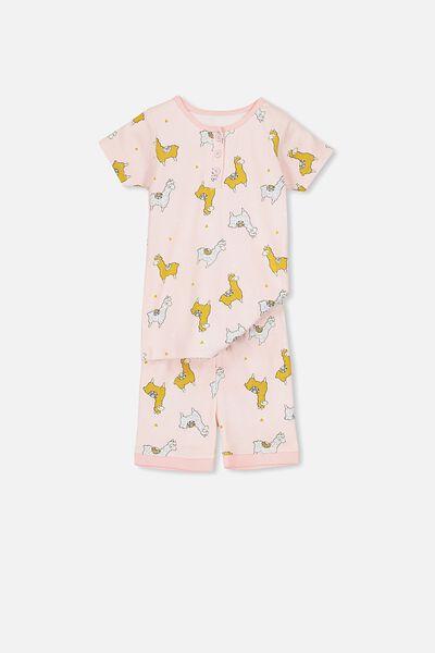 Chloe Girls Short Sleeve PJ Set, LLAMA LOVE PL