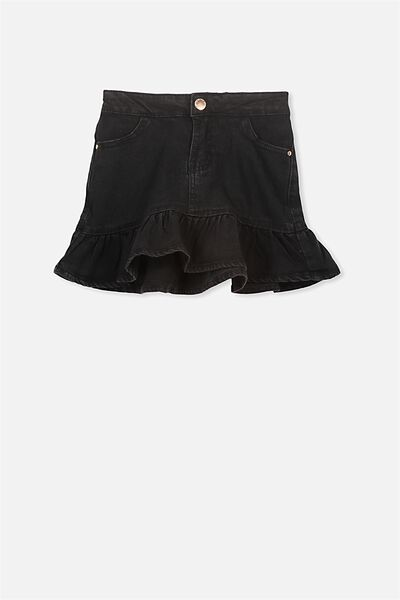 Kenzie Denim Frill Skirt, BLACK