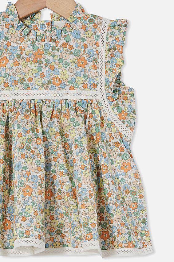 Tess Flutter Sleeve Dress, VANILLA/SKYE HAZE GARDEN FLORAL