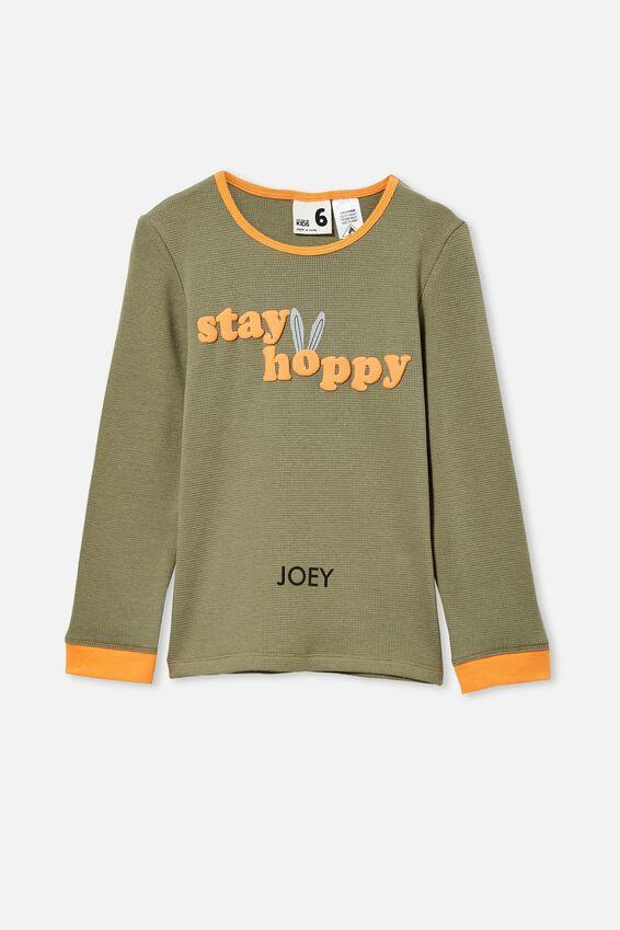 Noah Long Sleeve Pyjama Set Personalised, STAY HOPPY/ SILVER SAGE