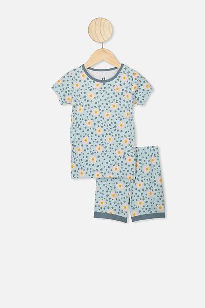 Nikki Short Sleeve Pajama Set, ETHER/LEOPARD DAISY
