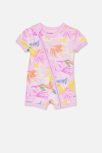 Mini Ss Zip Through Romper, FAIRY TALE/FLORAL PALM