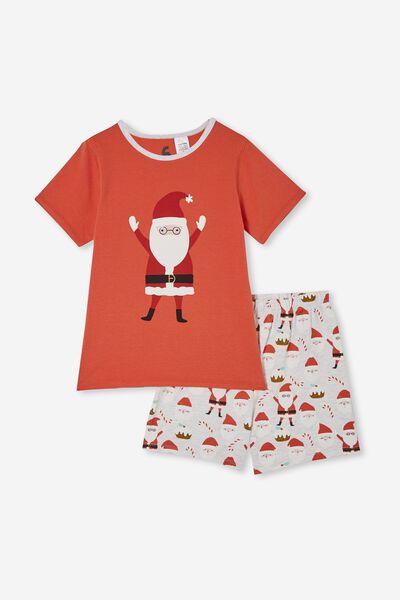 Hudson Short Sleeve Pyjama Set, SANTA FACES/RED ORANGE