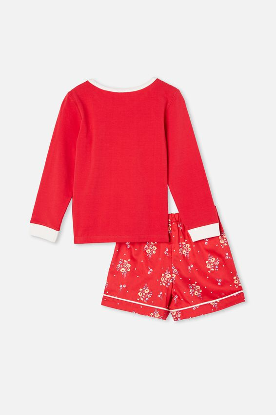 Chelsea Knit Woven Long Sleeve Pyjama Set, LUCKY/LUCKY RED