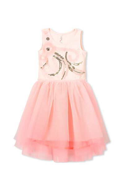 Iris Tulle Dress, SEA PINK/TAHITIAN