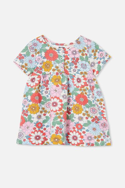 Milly Short Sleeve Dress, VANILLA/CALI PINK RETRO FLORAL