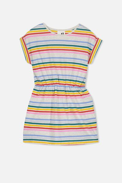 Sibella Short Sleeve Dress, SUMMER GREY MARLE/RAINBOW STRIPE
