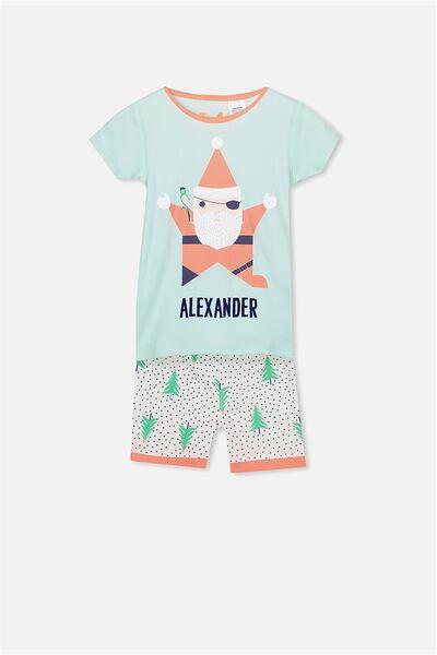 Joshua Short Sleeve Pyjama Set- Personalised, XMAS SANTA PIRATE RSA