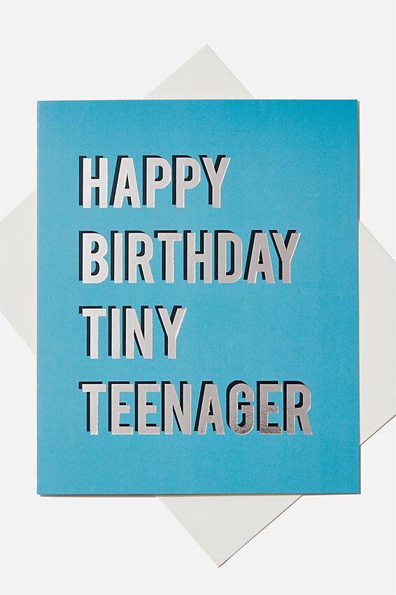 Birthday Gift Card, TINY TEENAGER BLUE