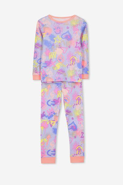 Alicia Long Sleeve Girls PJ Set, GRAFFETI