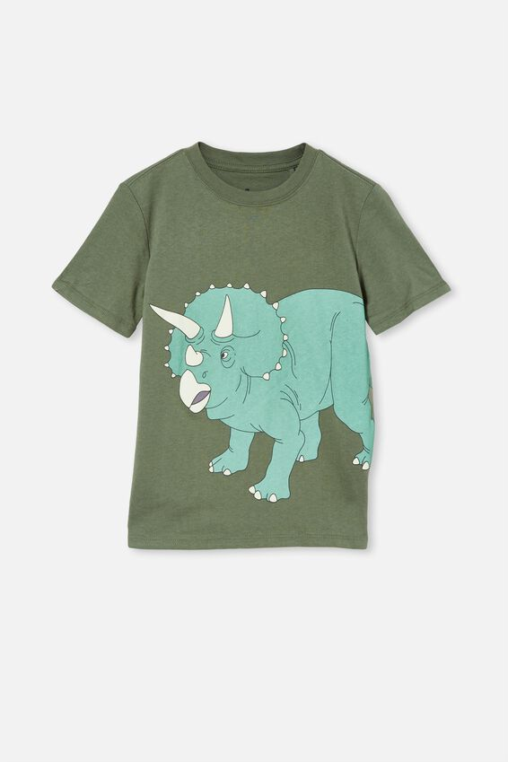 Downtown Short Sleeve Tee, SWAG GREEN / GLOW IN THE DARK DINO