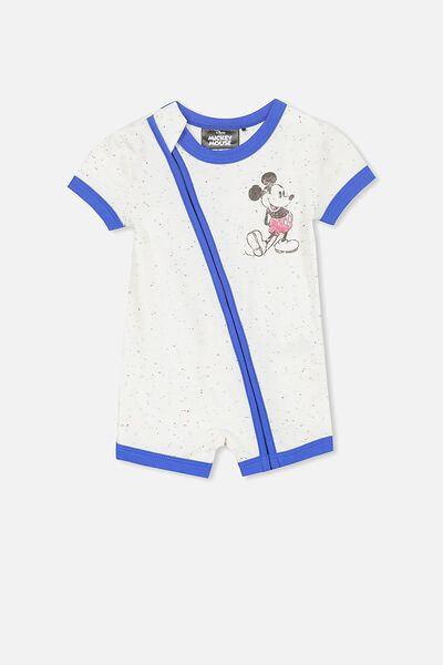 License Ss Zip Through Romper, VANILLA NEP MARLE/MICKEY SLOGAN