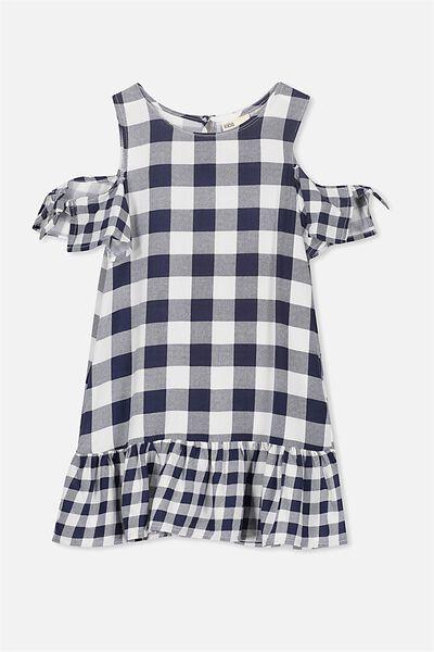 Ruby Cold Shoulder Dress, PEACOAT/VANILLA GINGHAM