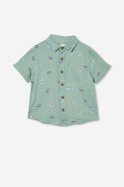 Resort Short Sleeve Shirt, SMASHED AVO/UMBRELLA