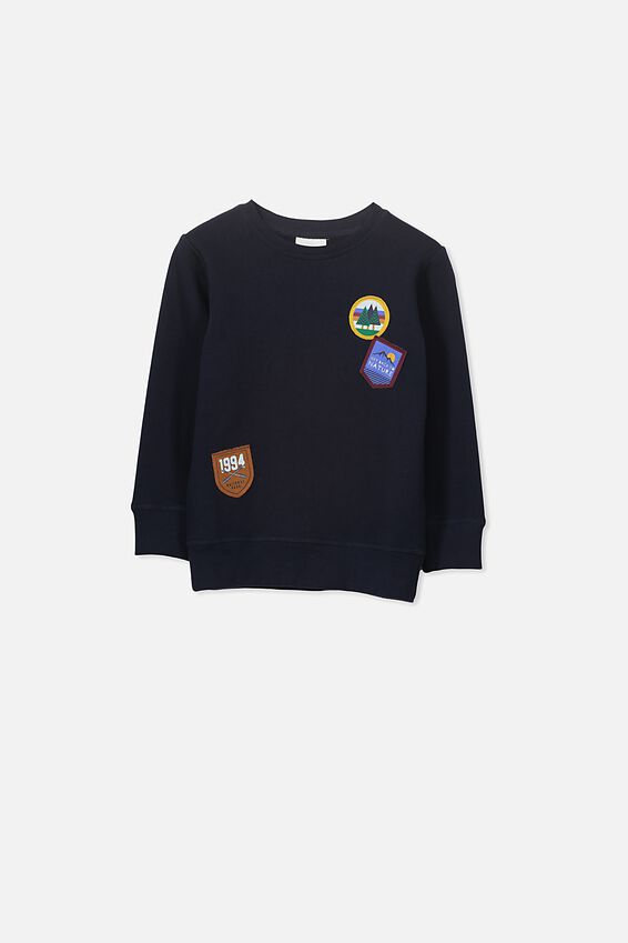 Lachy Crew Jumper, NAVY/BADGES