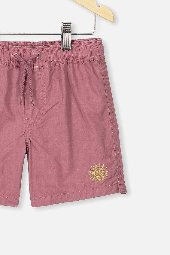 Volly Short, VINTAGE BERRY W EMB SUN