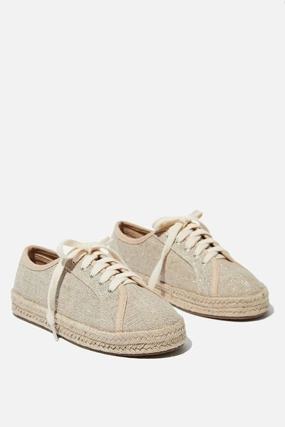 Lace Up Espadrille, NATURAL FLECK