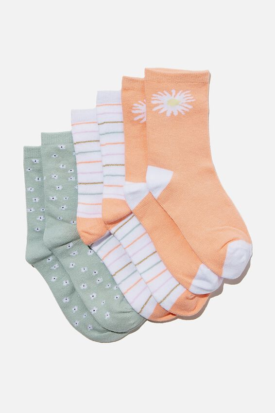 Kids 3Pk Crew Socks, PEACHY DAISIES