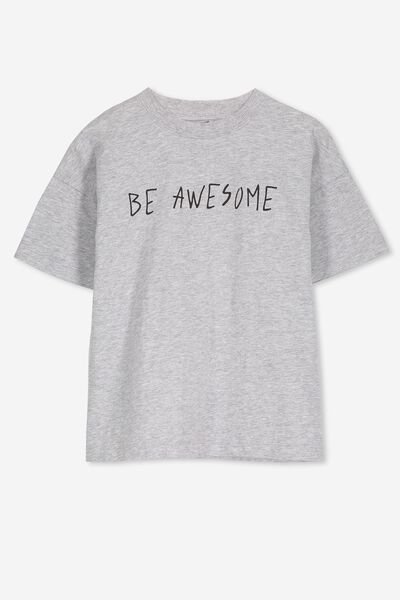 Max Loose Fit Tee, LIGHT GREY MARLE/BE AWESOME