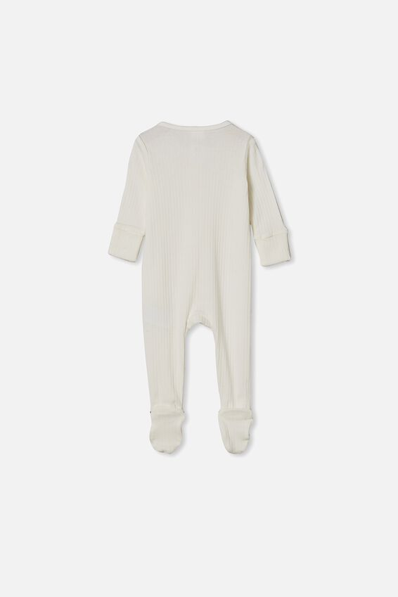 Organic Newborn Zip Through Romper, MILK