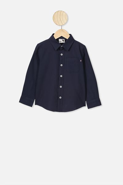 Prep Long Sleeve Shirt, NAVY