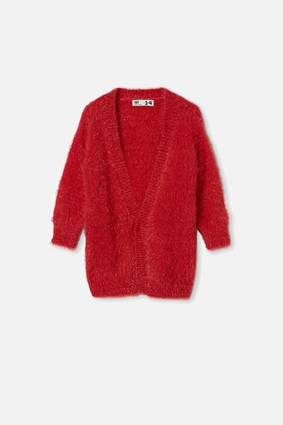 Dakota Sparkle Cardigan, LUCKY RED SPARKLE