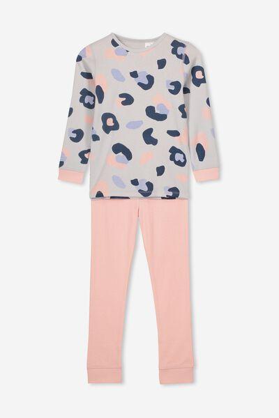 Alicia Long Sleeve Girls PJ Set, ANIMAL YARDAGE