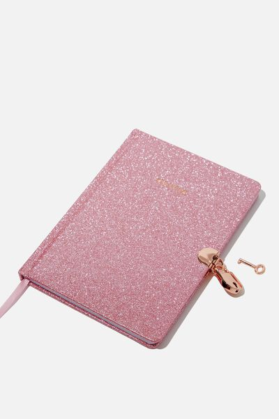 Sunny Buddy A5 Secret Notebook Personalisation, PINK GLITTER