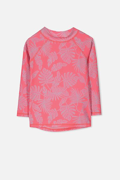 Hamilton Long Sleeve Rash Vest, FIZZY PINK/PALM TREE LEAVES YARDAGE