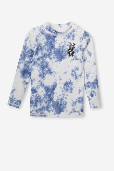 Fraser Long Sleeve Rash Vest, TIE DYE/HEY DUDE