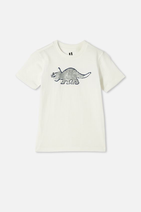 Downtown Short Sleeve Tee, RETRO WHITE / DINO SEQUIN