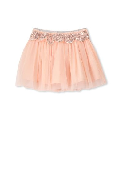 Trixiebelle Tulle Skirt, FLOSS PINK/SILVER SCALLOP