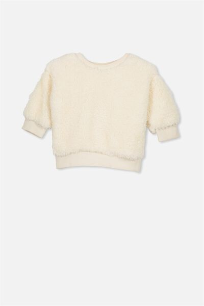 Skyler Drop Shoulder Crew, VANILLA TEDDY FUR