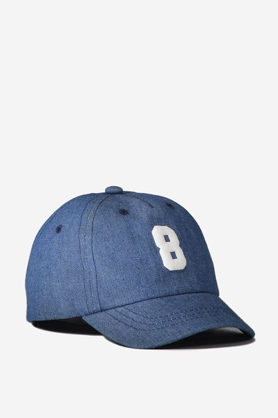 Baby Cap, MID BLUE CHAMBRAY/NUMBER 8