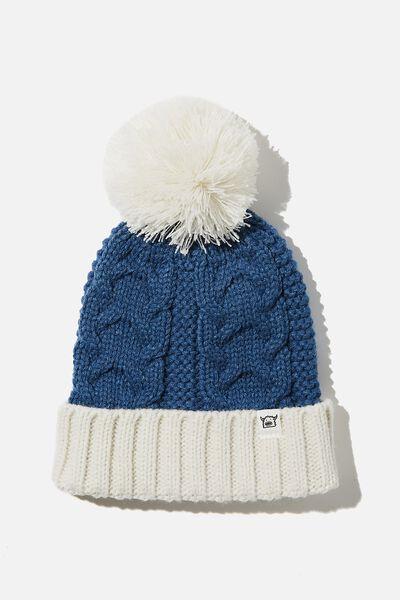 Winter Knit Beanie, PETTY BLUE