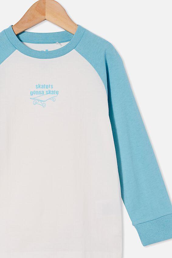 Tom Long Sleeve Raglan Tee, BLUE ICE/SKATERS GONNA SKATE