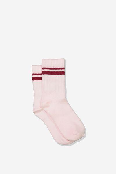 Retro Rib Crew Sock, PINK PEARL/TIBETAN RED STRIPE