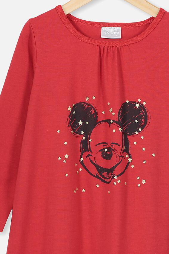 Laura Long Sleeve Long Nightie, LCN DIS LUCKY RED/MICKEY STARS