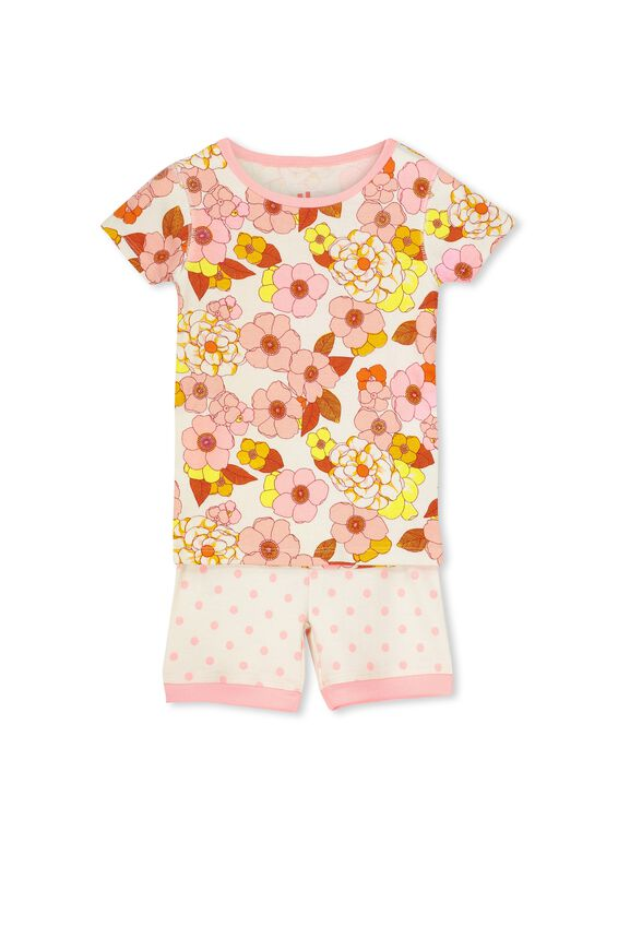 Nicole Short Sleeve Girls Pj, FLORAL AND SPOTS