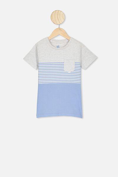 Louis Short Sleeve Texture Tee, POWDER PUFF BLUE STRIPE