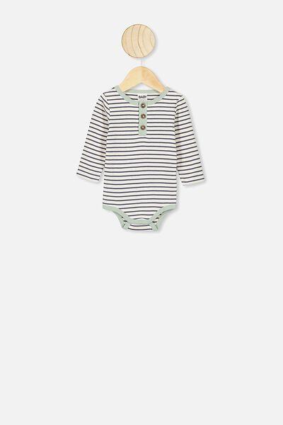 The Long Sleeve Placket Bubbysuit, ASH STRIPE/STONE GREEN BIND