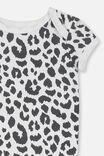 Mini Short Sleeve Bodysuit, WHITE/OCELOT PRINT
