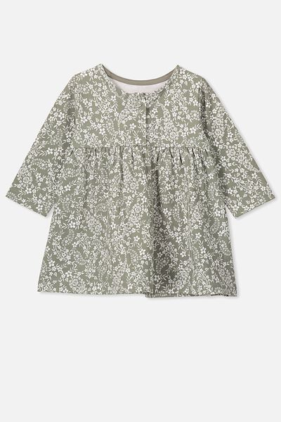 Molly Long Sleeve Dress, SILVER SAGE/PAISLEY FLORAL