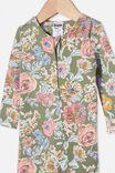 The Snug Long Sleeve Zip Romper, SILVER SAGE/MATILDA FLORAL