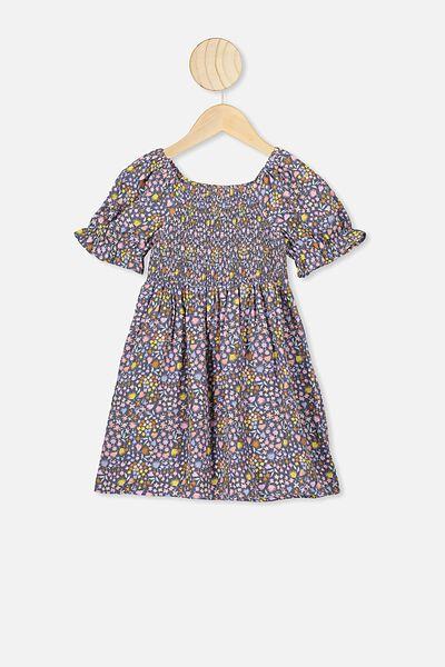 Lillie Short Sleeve Dress, VINTAGE NAVY/DITSY FLORAL