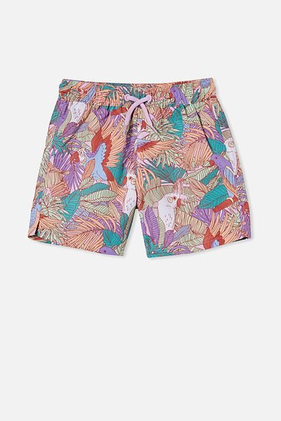 Bailey Board Short, PALE VIOLET/TROPICAL BIRDS