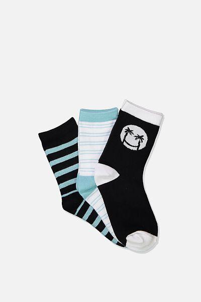 Kids 3Pk Crew Sock, PHANTOM SMILEY