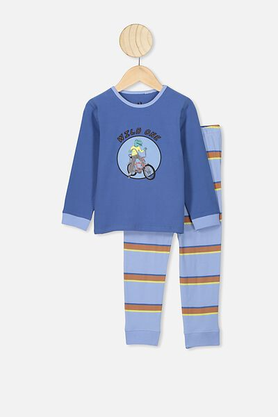 Orlando Long Sleeve Pj Set, PETTY BLUE/POWDER PUFF BLUE WILD ONE STRIPE