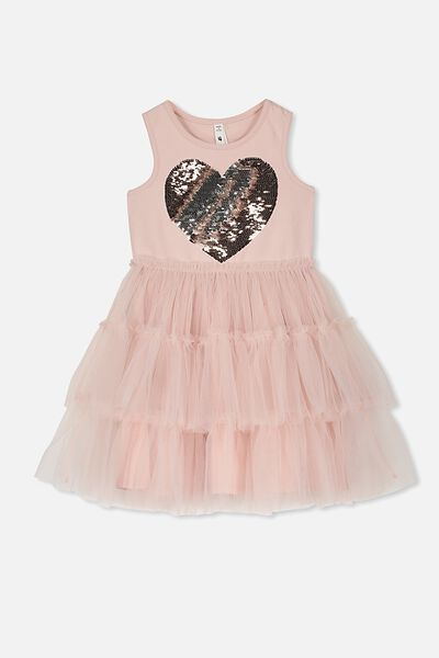 Iris Tulle Dress, DUSTY PINK TIERED/HEART